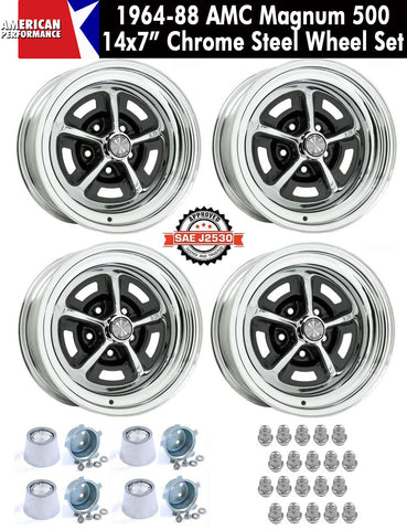 "1964-1988 AMC 14X7"" Chrome Steel Magnum 500 Wheel  - Set of 4 w/AMC Center Caps & Stainless Lug Nuts"