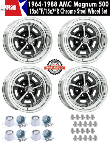 "1964-1988 AMC 15X6""/15x7"" Staggered Chrome Steel Magnum 500 Wheels - Set of 4 With Center Caps & Lug Nuts"