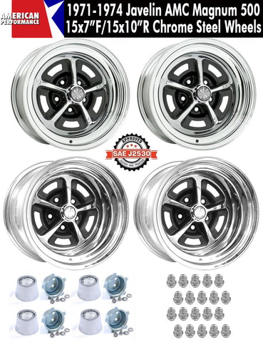 "Magnum 500 Wheel, 15x7""/15x10"" Staggered Chrome Steel, Set of 4 With Center Caps & Lug Nuts, 1971-74 AMC Javelin, Javelin AMX - AMC Lives"