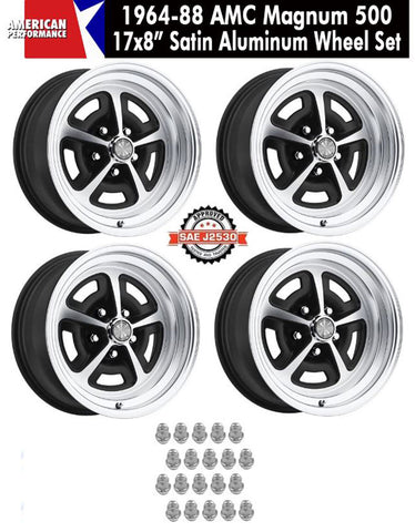 "Magnum 500 Wheel, 17x8"" Satin Aluminum, Set of 4 With Center Caps & Lug Nuts, 1968-74 AMC Javelin, Javelin AMX, AMX - AMC Lives"