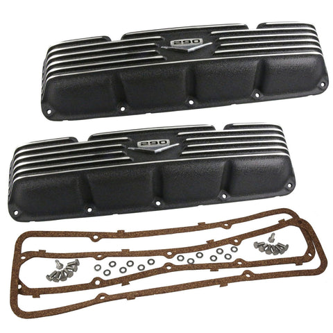 Valve Cover Kit, 290, Black Wrinkle Aluminum, 1966-69 AMC, Jeep w/V-8