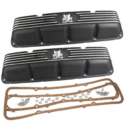 Valve Cover Kit, Gremlin, Finned Black Wrinkle Aluminum, 1970-78 AMC Gremlin w/V-8
