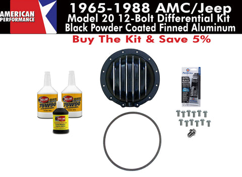 1965-1988 AMC/Jeep Model 20 Black Powder Coated Finned Aluminum Differential Cover Kit