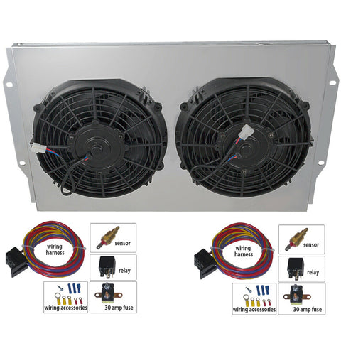 Cooling Fan Master Kit, Dual Electric, For OE style Brass Copper & OE style Aluminum V8 Radiators, 1958-88 AMC, Rambler