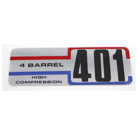 Air Cleaner Decal, 401 4-Barrel High Compression, 1971 AMC, Jeep