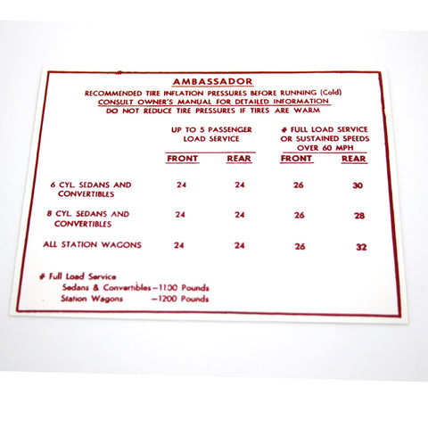 Tire Inflation Chart Jeep Decal For Glove Box Lid
