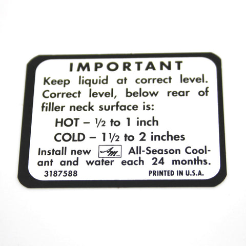 Cooling System Warning Decal, 1968-E70 AMC