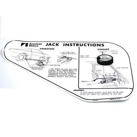 Jack Instructions Decal, Space Saver Tire, 1971-72 AMC Javelin, Javelin AMX - AMC Lives
