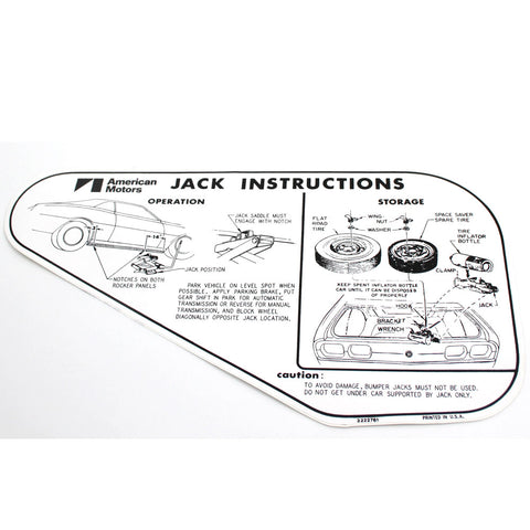 1973-74 AMC Javelin/Javelin AMX Jack Instructions With Space Saver Spare Tire Decal
