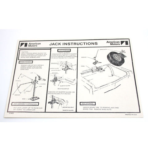 Jack Instructions Decal, 1972-73 Ambassador, Matador - AMC Lives