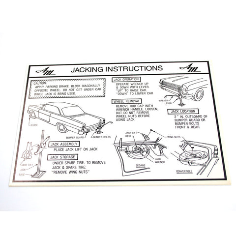 Jack Instructions Decal, 1965-66 Ambassador - AMC Lives