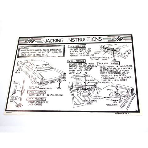 Jack Instructions Decal, 1967-68 Ambassador, Rebel, Marlin - AMC Lives