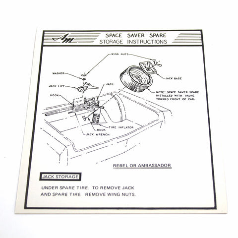 1970 Ambassador, Rebel (Except Wagon) Space Saver Tire Jack Instructions Decal