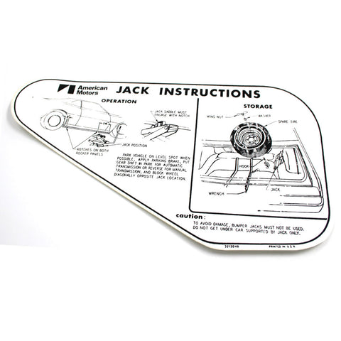 Jack Instructions Decal, Full Size Tire, 1970-71 AMC AMX, Javelin