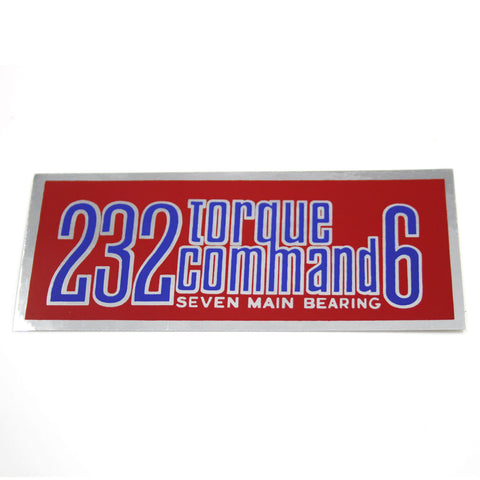1967-70 AMC 232 Torque Command 6 Air Cleaner Decal