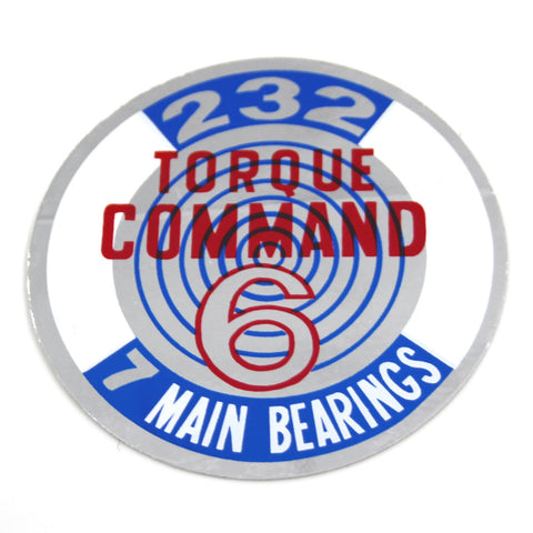 1965-66 AMC 232 Torque Command Valve Cover Decal