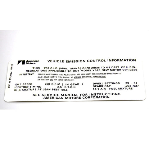 Emission Decal, 232 6 Cylinder Manual Transmission, Except California, 1971 AMC - AMC Lives