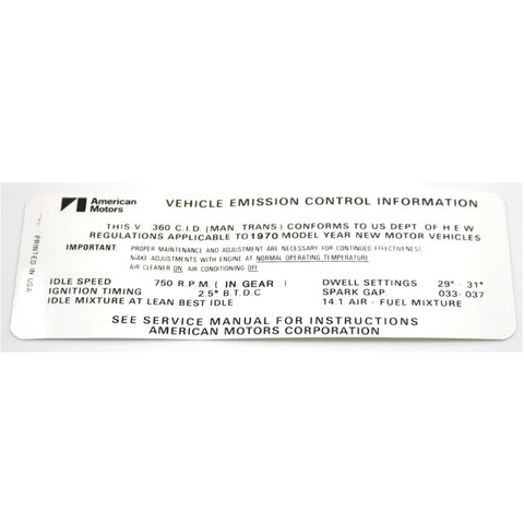 Emission Decal, 360 V-8 Manual Transmission, 1970 AMC