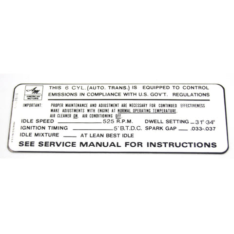 Emission Decal, 199 6-Cylinder w/Automatic Transmission, 1968-69 AMC