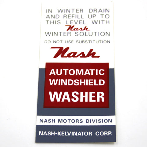 Windshield Washer Bracket Decal, 1946-1956 Nash