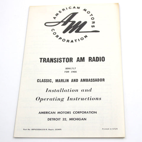 Radio Owners Manual, 1966 AMC Ambassador, Classic, Marlin