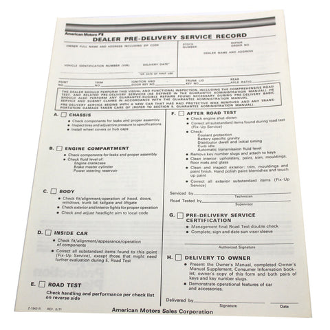 New Car Pre-Delivery Sheet, 1972-73 AMC - AMC Lives