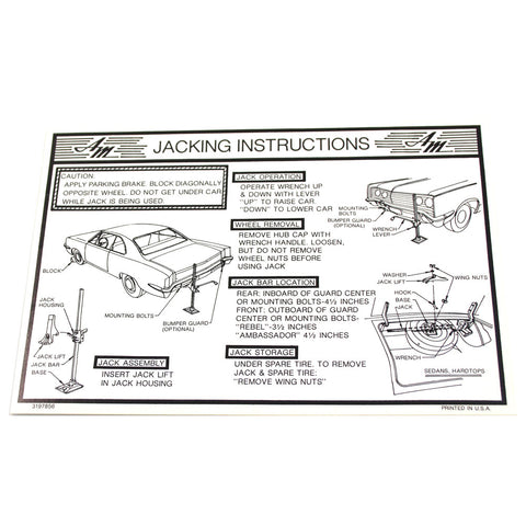 Jack Instructions Decal, 1969 AMC Ambassador, Rebel - AMC Lives