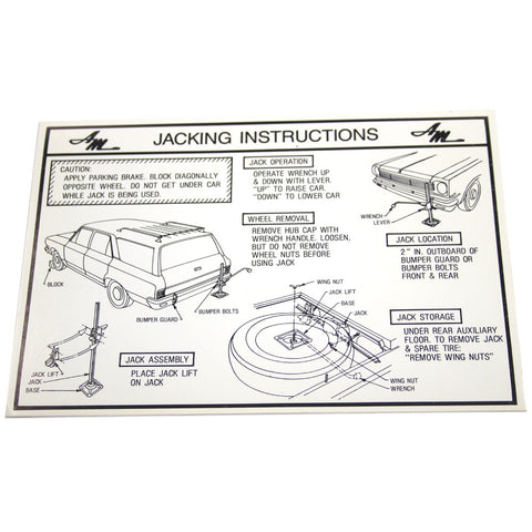 Jack Instructions Decal, 1966-67 Rambler American - AMC Lives