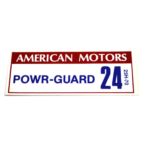 Battery Decal, Power Guard 24, 25H-70, 1967-68 AMC - AMC Lives