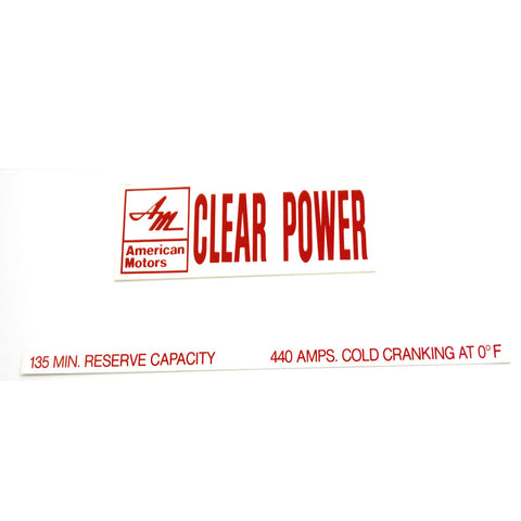 Battery Decal Set, Clear Power, 1969-70 AMC