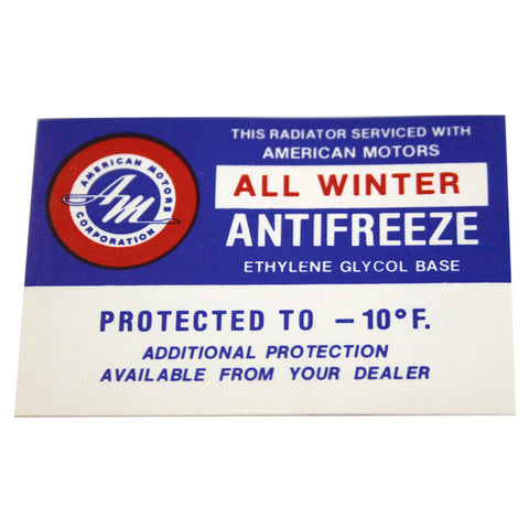 Anti-Freeze Decal, 1961-67 Rambler, AMC - AMC Lives