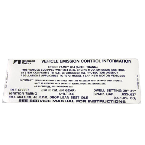 Emission Decal, 304 V-8 Automatic Transmission, SF 3216104, 1972 AMC - AMC Lives