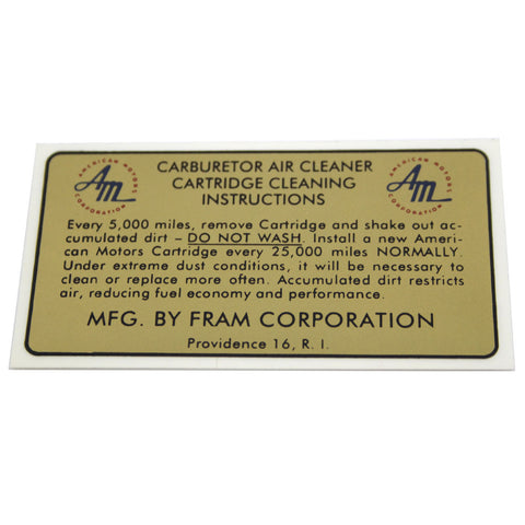 Air Cleaner Service Decal, Fram, 1965 AMC, Rambler - AMC Lives