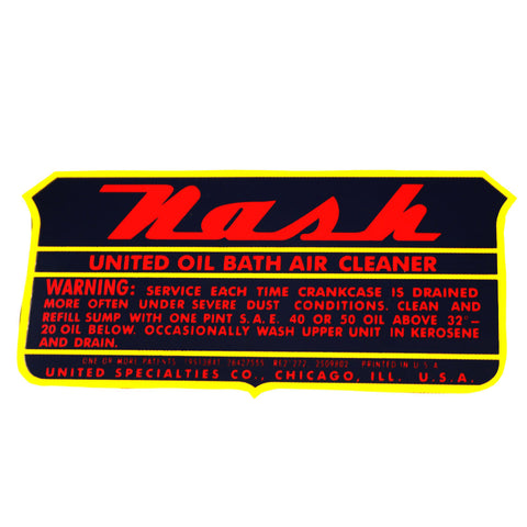 Air Cleaner Decal, Oil Bath, Duel Side Draft, 1952-1955 Nash - AMC Lives