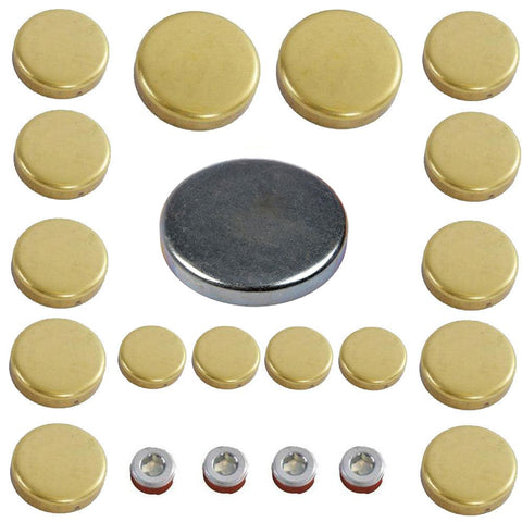 Brass Freeze Expansion Plug Kit, 21-Piece Kit, 1966-91 AMC & Jeep V8 - AMC Lives