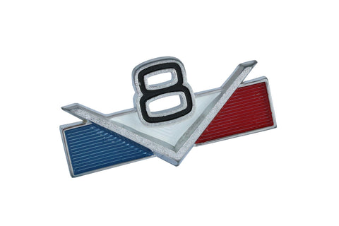 "Fender or Door Emblem, ""V8"", 3"" x 1.5"", Red, White, & Blue, Pin-On, 1965-91 AMC Jeep V8 (2 Required)"
