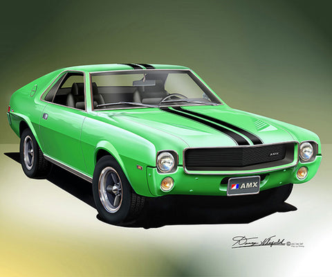 "1969 AMC AMX 16""x20"" Fine Art Print by Danny Whitfield (11 Body Colors)"