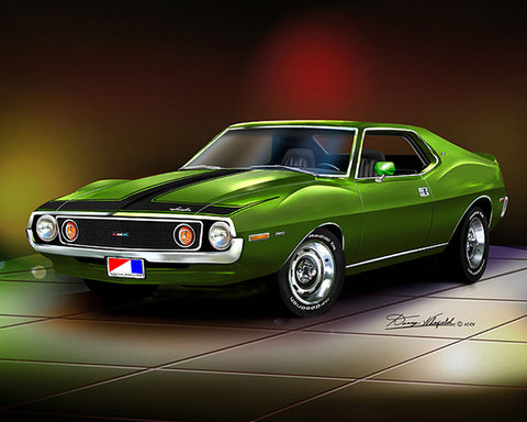 "1971-1973 AMC Javelin AMX 16""x20"" Fine Art Print by Danny Whitfield (9 Body Colors)"