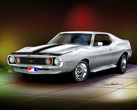 "Fine Art Print, 1971-73 AMC Javelin AMX, 16""x20"", By Danny Whitfield(9 Body Colors)"