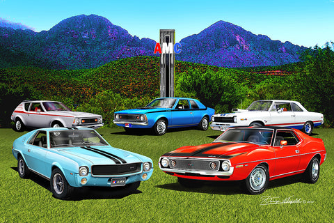 "Fine Art Print, AMC Special Edition 20""x30"", By Danny Whitfield - Red, White, & Blue Muscle Arizona Edition - AMC Lives"
