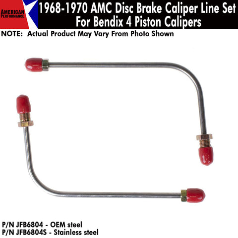 1968-1970 AMC Disc Brake Caliper Line Set For Bendix 4 Piston Calipers (2 Variations)