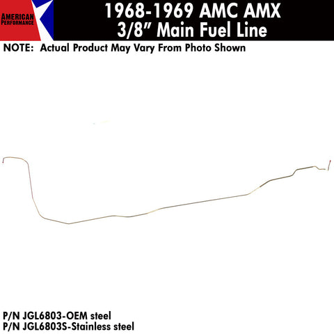 "Fuel Line, 3/8"" Main Front to Rear, 1968-69 AMC AMX (OE Steel or Stainless)"