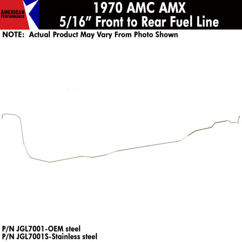 "Fuel Line, 5/16"" Main Front To Rear, 1970 AMC AMX (OE Steel or Stainless)"
