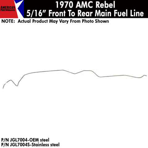 "Fuel Line,  5/16"" Main Front To Rear, V-8, 1970 AMC Rebel (OE Steel or Stainless)"