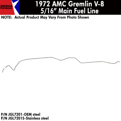 "1972 AMC Gremlin V-8 5/16"" Front to Rear Main Fuel Line (2 Variations)"
