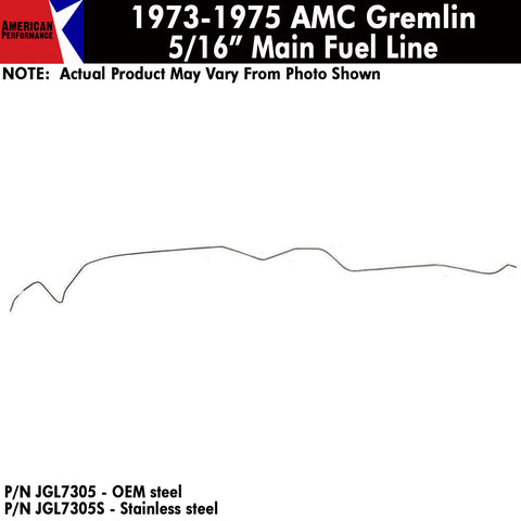 "Fuel Line, 5/16"" Main Front To Rear, V-8, 1973-75 Gremlin (OE Steel or Stainless)"