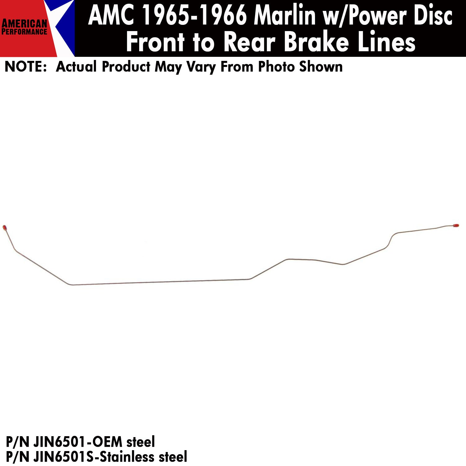 1965-1966 AMC Marlin w/Power Disc Front To Rear Brake Line 1-Piece Kit (2  Variations)