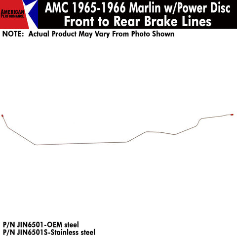 Front To Rear Brake Line, Power Front Disc, 1965-1966 AMC Marlin (OE Steel or Stainless)