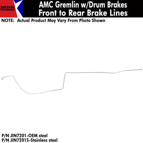 1972 AMC Gremlin w/Drum Brakes Front To Rear Brake Line 1-Piece Kit (2 Variations)