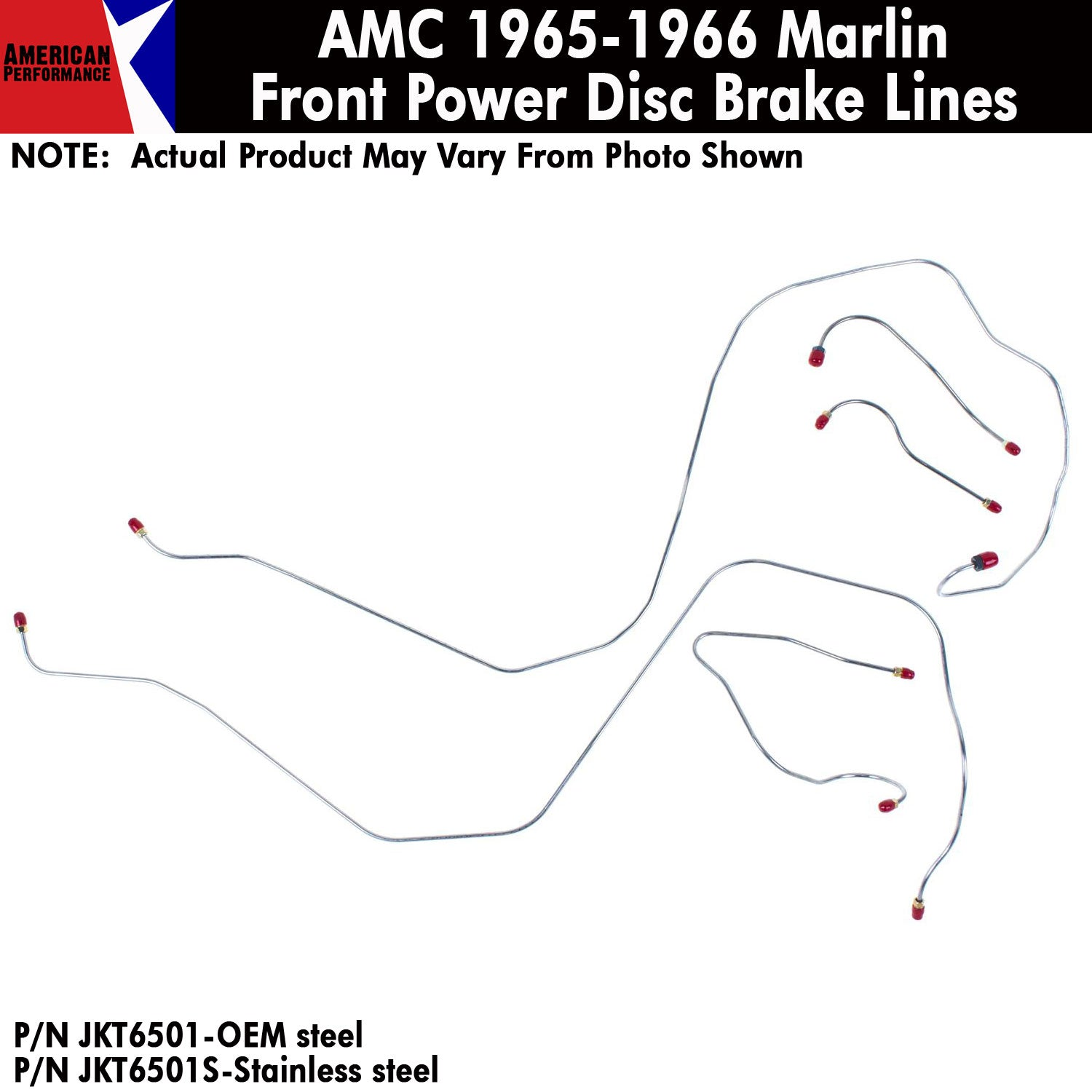 1965-1966 AMC Marlin Power Front Disc Brake Line 5-Piece